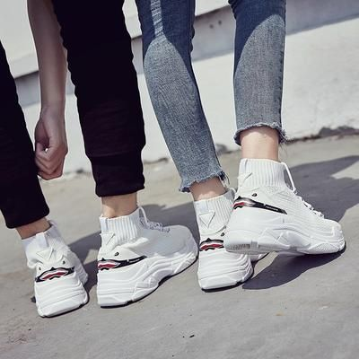 fd539c7df08 ADBOOV High Top Sneakers Men Unisex Knit Upper Breathable Shoes Fashion  Shark Logo Couple Black