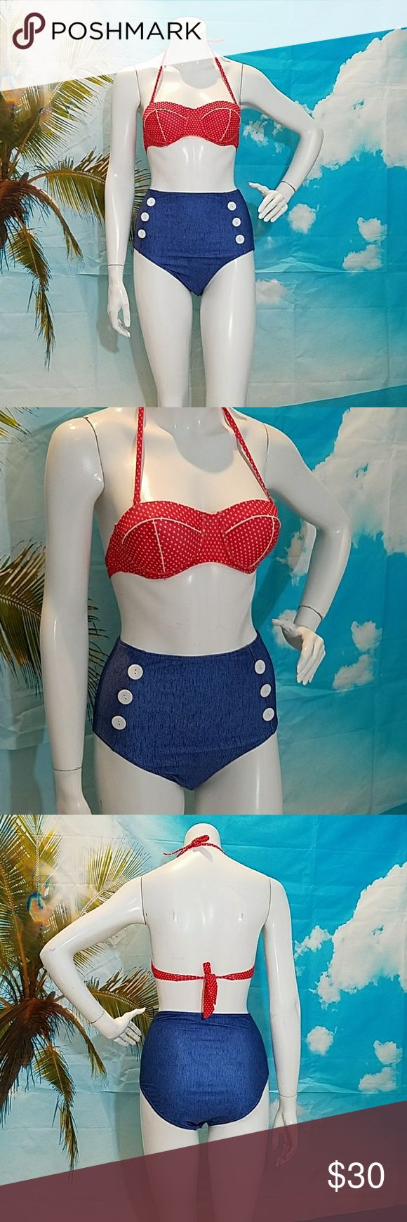 SALE! Retro high waisted polka dot denim bikini Super cute Retro inspired bikini! Size small Top has molded cups with underwire for extra supporr Red and white polka dots  Ties and neck and back  Bottom is high waisted Size small Denim look (not real denim, just denim print) Decorative buttons on front Pull on style Swim Bikinis