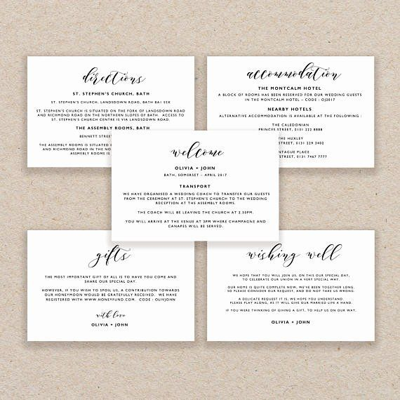 Wedding Accommodation Card Template Best Of Enclosure Cards Template Wedding Det