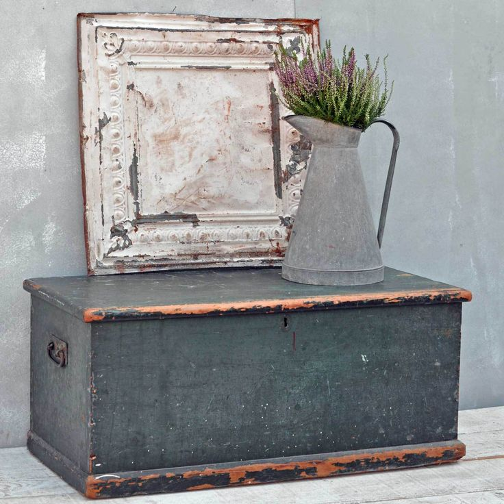 Vintage, industrial, rustic and reclaimed, furniture, Home interiors store base in a 17th century barn in Marlow Bucks, visit www.homebarnshop.co.uk to shop on-line. Antique Rustic Green Blanket Box Chest Trunk