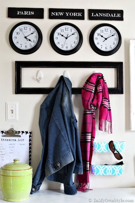 Mudroom-Organizing-Ideas-using damage-free CommandBrand products. Fun to use your own city for one of the clocks along with Paris, New York, Rome or what ever city you want to travel to. {InMyOwnStyle.com} #walls #mudrooms