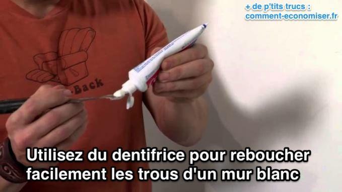 Rendre des murs blancs à ses propriétaires sans se ruiner, c'est possible. Un simple tube de dentifrice sauvera votre caution.  Découvrez l'astuce ici : http://www.comment-economiser.fr/reboucher-trous-mur-.html?utm_content=buffer89df6&utm_medium=social&utm_source=pinterest.com&utm_campaign=buffer