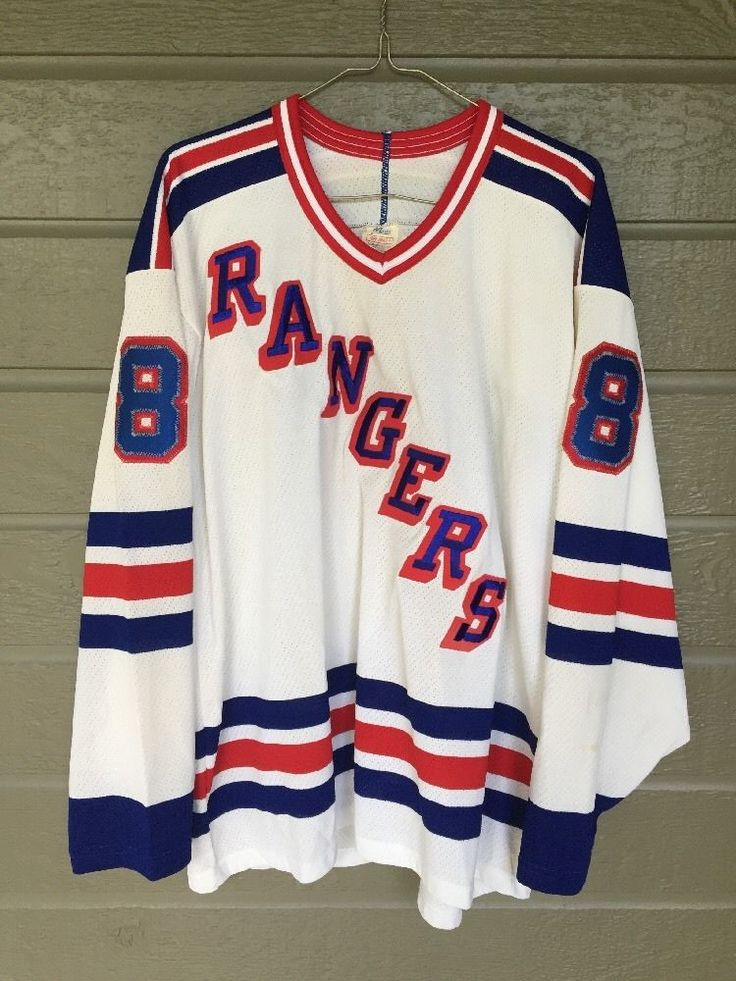Vintage Rangers NHL Jersey Turcotte Mens Large Maska White Stitched Letters #8 #Maska #NewYorkRangers
