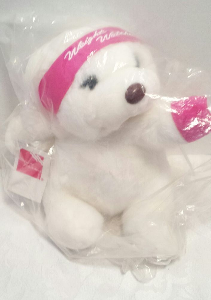 Weight Watchers Plush White Teddy Bear  12 inches Pink Headband Armband  #Cloud9