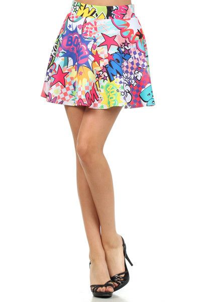 Make a statement in this super cute skater skirt with a high waist and pop art comic print. Looksradwith a crop tee and geometric shades!