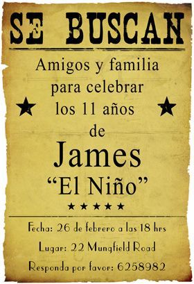 """Fiesta de cumpleaños vaquero"" printable invitation. Customize, add text and photos. print for free!"