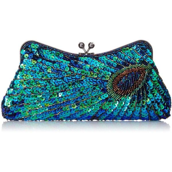 MG Collection Laurel Beaded Sequined Peacock Purse ($30) ❤ liked on Polyvore featuring bags, handbags, clutches, evening clutches, cell phone purse, rhinestone clutches, blue handbags ve blue purse
