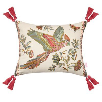 Could possibly work as does have gold embroidery and still within the nature theme to compliment pictures / curtains.  Butterfly Home by Matthew Williamson Multi-coloured embroidered cushion | Debenhams
