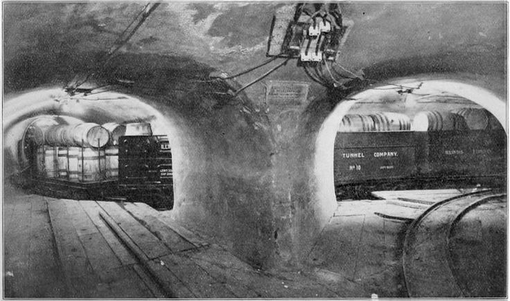 Chicago Freight Tunnel. By diverting freight from slow moving wagons on congested streets to electric trains running beneath them, it would be possible to move goods of almost every description quickly between railroad stations, boat docks, department stores and factories. The building of a 'subway' for freight, rather than for passengers, was, to say the least, unusual.