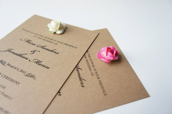 Kraft paper and roses ceremony programs by Simple Leaf Paper