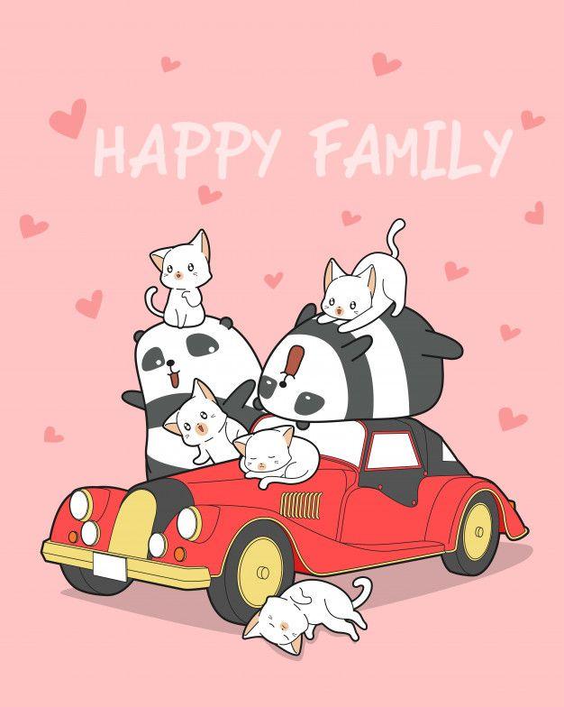 Animal Family And Red Car Panda Artwork Red Car Cute Wallpapers