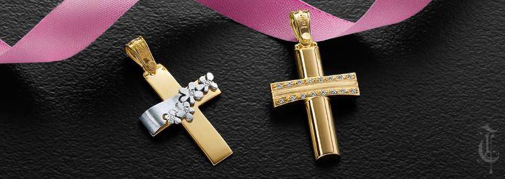 σταυροί βάπτισης, βαπτιστικοί σταυροί Τριάντος, gold crosses jewelry κωδικοί προϊόντων από αριστερά : 1.1.1210 και 1.2.1071.