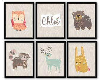 Tierkindergarten Kunst, Kinder Zimmer Print, Mädchen Zimmer Kunst, Wald Tierkindergarten, rustikale Kindergarten Wandkunst, Kleinkind Mädchenzimmer, Baby-Namen-Kunst