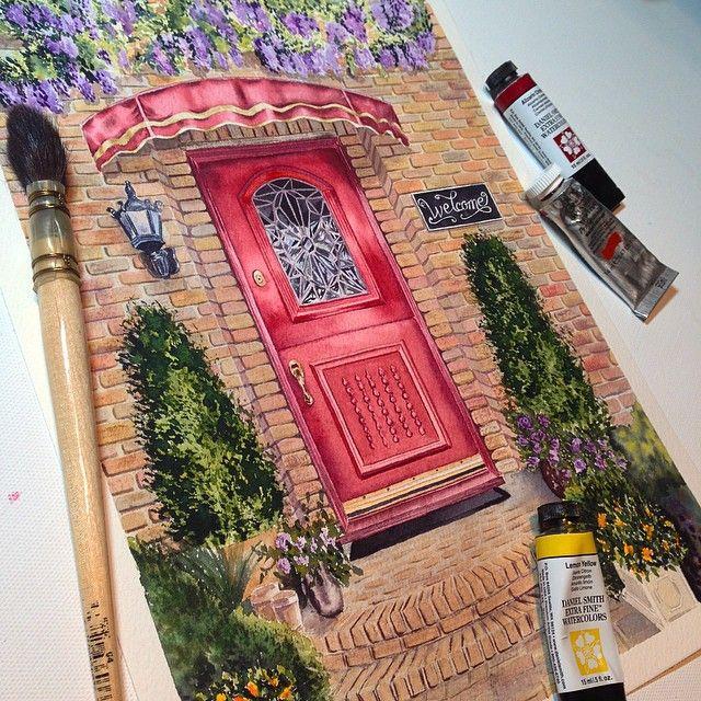 Red door, watercolor painting by Julia Kamenskikh