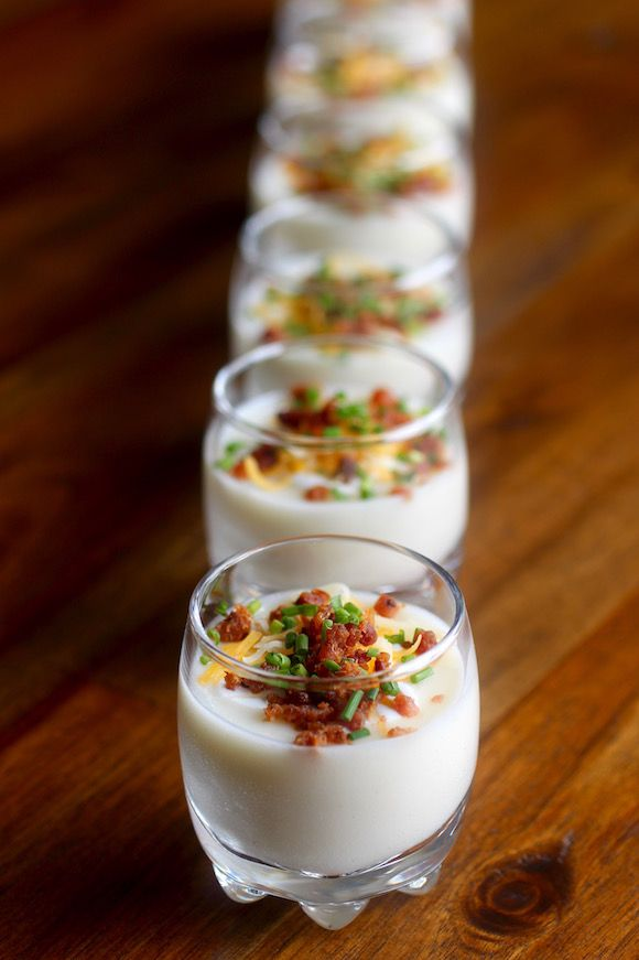 Baked Potato Shooters with Bacon, Crema, Cheese, and Chives