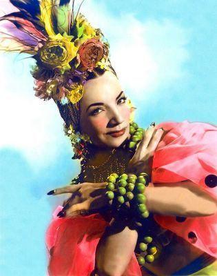 CONSTANZA. A photo of Carmen Miranda. I like the exaggerated rouge. Eccentric and a bit clownish.