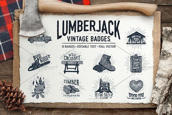Lumberjack. Vintage Badges (part 1) by Cosmic Store on @creativemarket