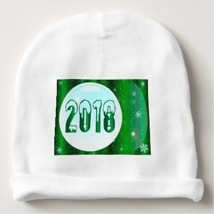 Green 2018 New Year Baby Beanie - new years eve happy new year party design ideas holiday party