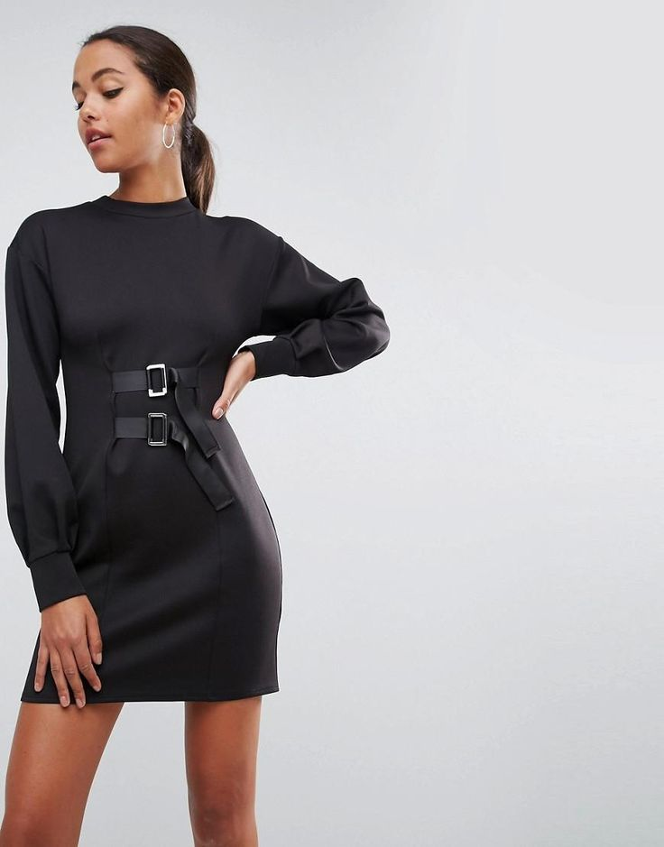 #ASOS - #ASOS ASOS Mini Column Dress with Balloon Sleeves and Buckle Details - Black - AdoreWe.com