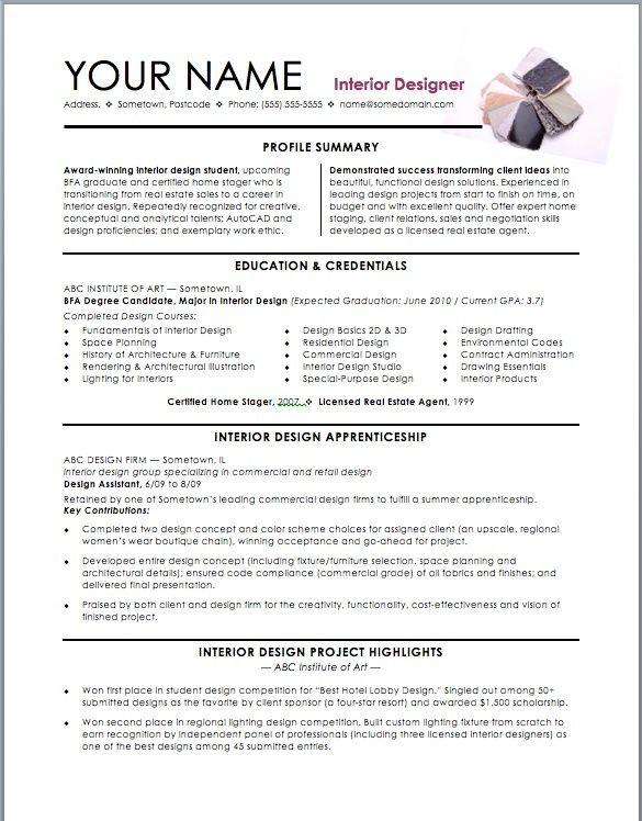 Interior Design Student Resume | assistant interior design intern resume template | Interior Designer ...