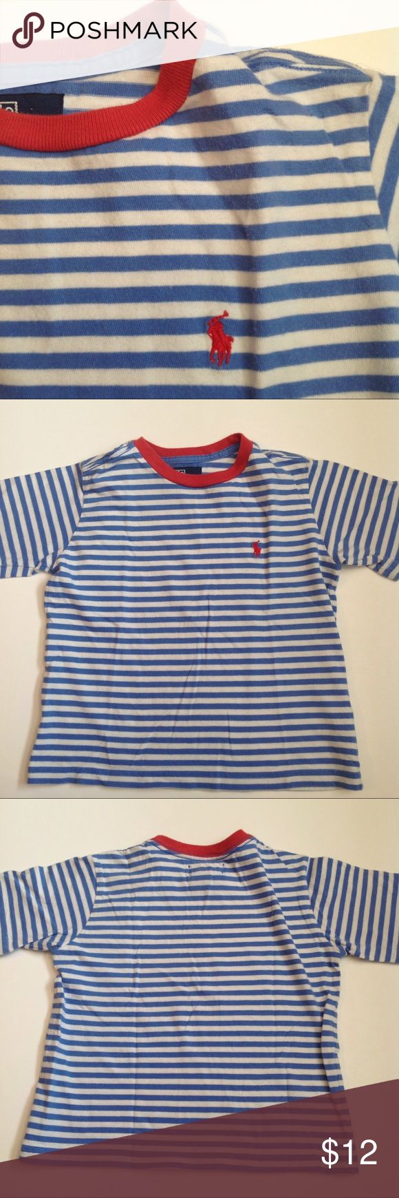 POLO RALPH LAUREN * BOYS * STRIPED TEE * SIZE 5 Update your little one's summer wardrobe with this classic 100% cotton striped short sleeve crew neck tee.  Machine wash.  Embroidered pony logo. Polo by Ralph Lauren Shirts & Tops Tees - Short Sleeve