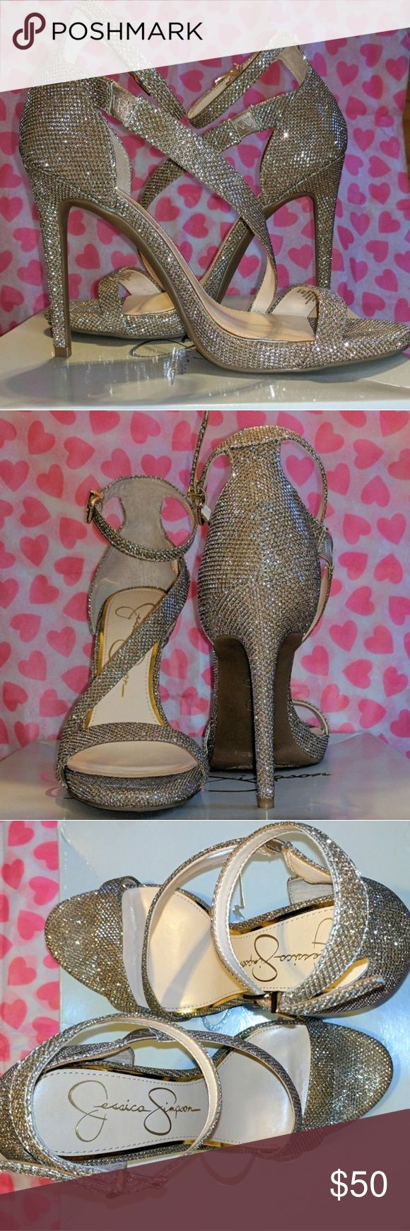 Jessica Simpson Prom Gold Sparkly Heels Never know what type of heels to get for prom or either going out with your girls? Well, these Jessica Simpson heels would be the finishing touch! Jessica Simpson Shoes Heels