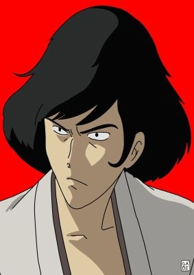 Goemon from Lupin III, that I have since found out was drawn by this person: https://it.pinterest.com/gabelamar/stampe-serie-lupin/