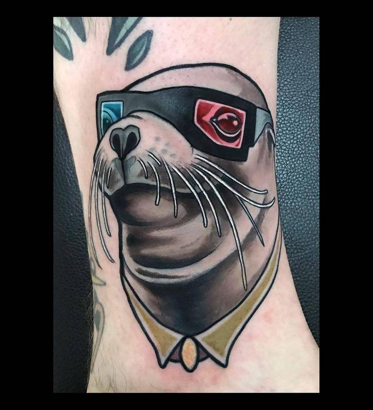 Seal Wearing 3D Glasses by @brian_povak at @sticksandstonesberlin in Berlin Germany. #seal #3d #3dglasses #sealwearing3dglasses #brianpovak #brian_povak #sticksandstonesberlin #sticksandstonestattoo #berlin #germany #tattoo #tattoos #tattoosnob
