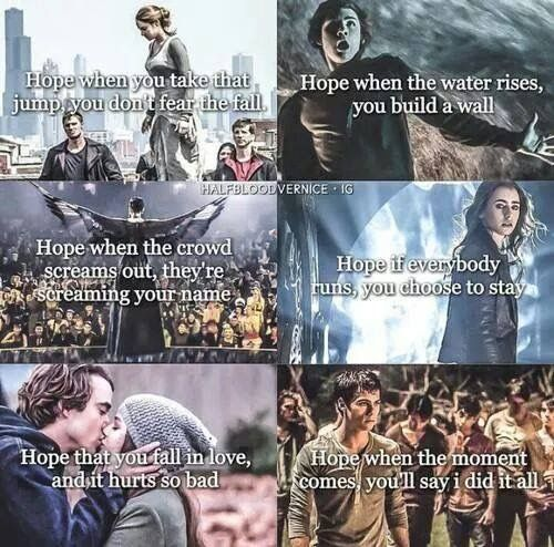 Divergent, Percy Jackson, The Hunger Games, The Mortal Instruments, Beautiful Creatures (I think that pic is actually from If I Stay?), and The Maze Runner