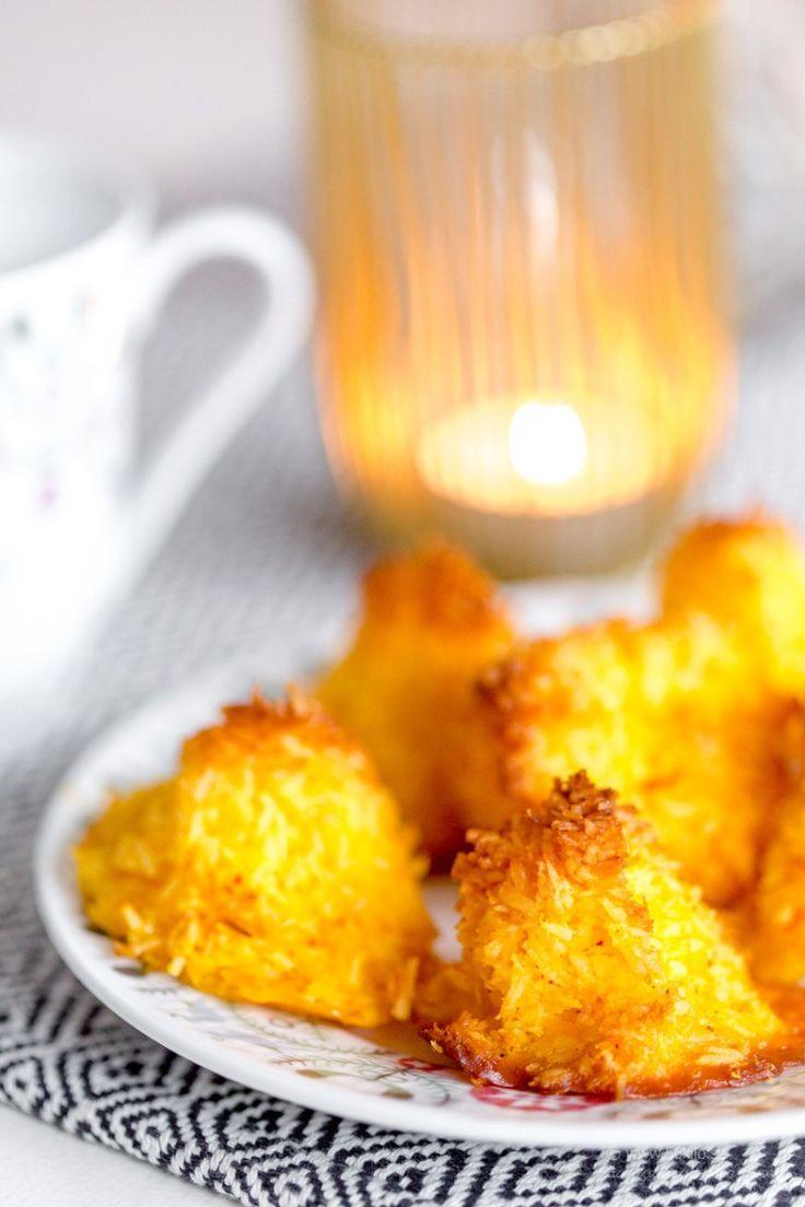 Sockerfria kokostoppar med saffran- och apelsin