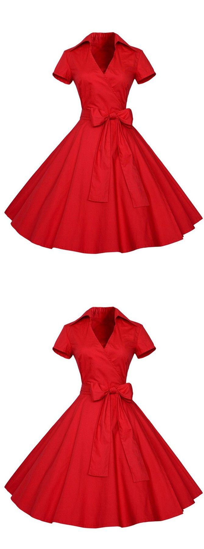 1950er vintage Rockabilly Partykleider kurze Ärmel Cocktailkleider Rot