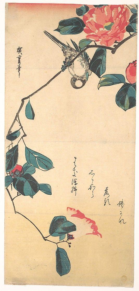 Camellia and Bullfinch Utagawa Hiroshige (Japanese, Tokyo (Edo) 1797–1858 Tokyo (Edo))