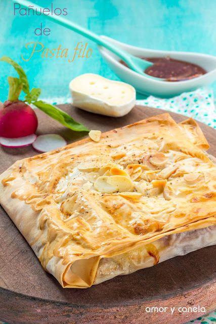 Pañuelos de pasta filo con jamón y queso - Sueños de amor y canela