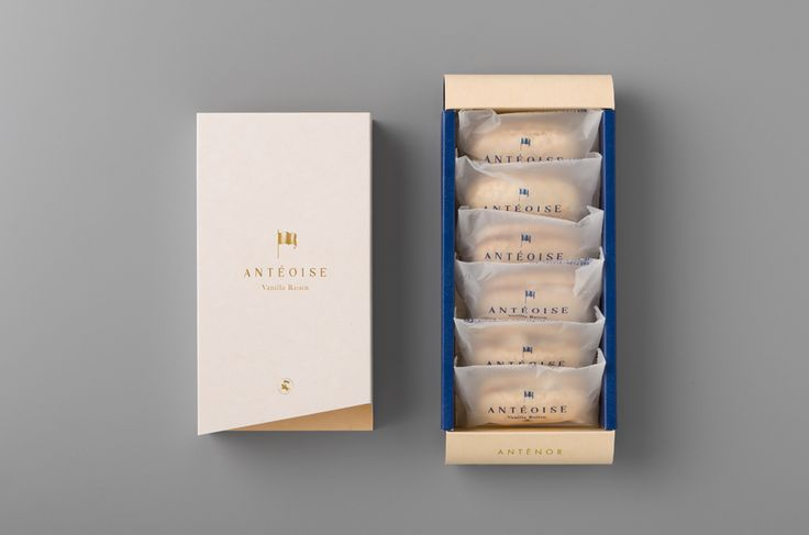 Packaging for Anténor's luxury Caramel Almond and Vanilla Raisen confectionery range Antéoise designed by UMA