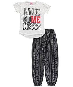 "Sweet N Sassy Big Girls' ""Awesomeness"" 2-Piece Pajamas (Sizes 7 – 16) - CookiesKids.com"