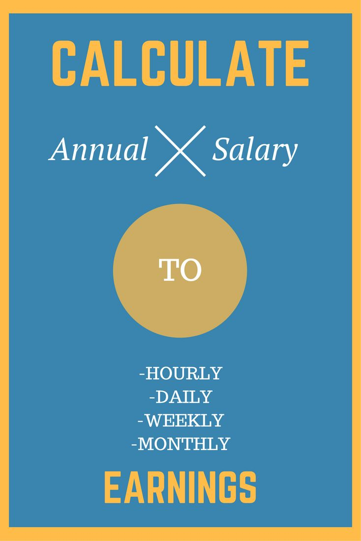 Converts your yearly pay into how much you are earning per hour, per workday, per week, and per month.