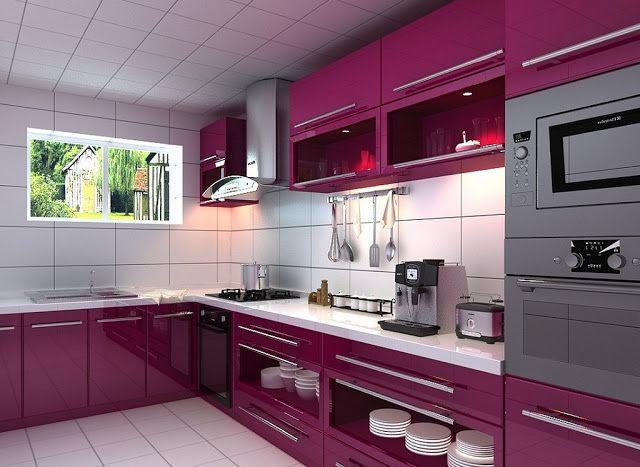 30 Fotos cozinhas roxo e púrpura ~ Decoração e Ideias - casa e jardim