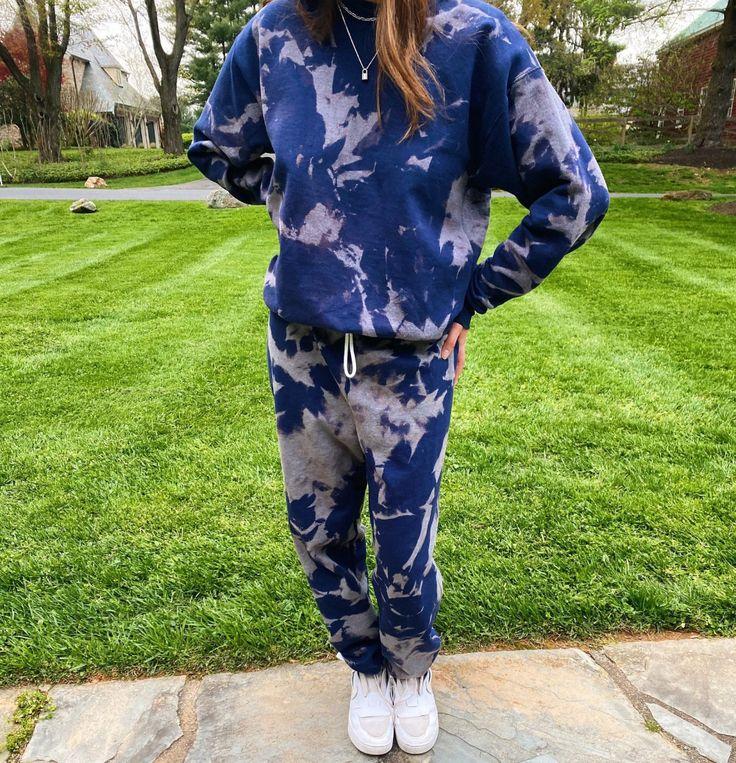 Custom bleached sweatshirt sweatpants set etsy in 2020