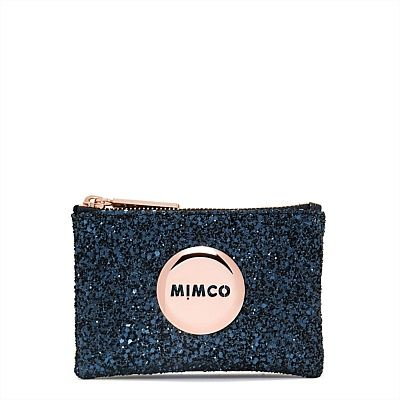MIMCO- Tiny Sparks Pouch in blue glitter and rose gold