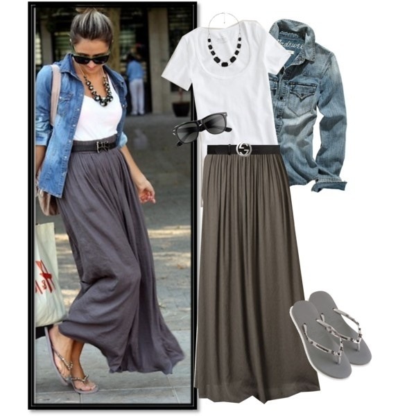 jean jacket and long skirt