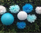 Blue Ice - 6 Tissue Paper Poms/2 Decorated Paper Lanterns// Baby Shower, Birthday, Wedding, Bridal Shower, Nursery Decor
