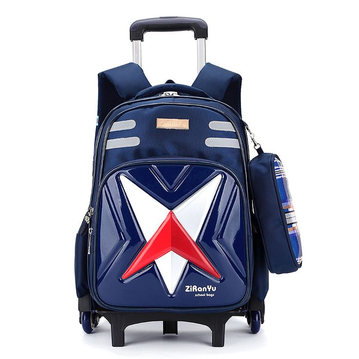 6 wheels Trolley schoolbag brand fashion backpack 2 wheels teenagers book bags primary school bag girls boys gift travel Luggage