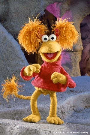 """Red"", Fraggle Rock for Briley, red shirt, tan leggings, tail, hair in poofs"