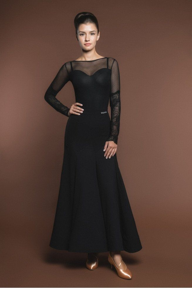 Black Leotard with Lace Sleeves B01