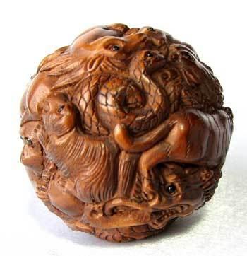 Carved & Signed CHINESE ZODIAC Boxwood NETSUKE 9477B  $89.79