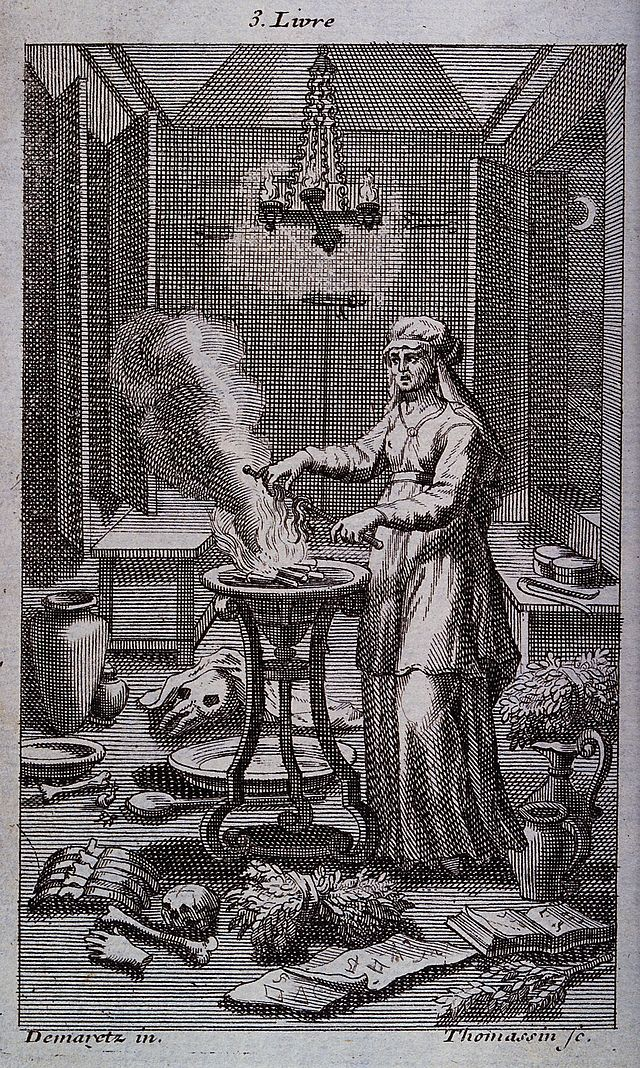 A witch casting spells over a steaming cauldron. Engraving b Wellcome V0025855.jpg