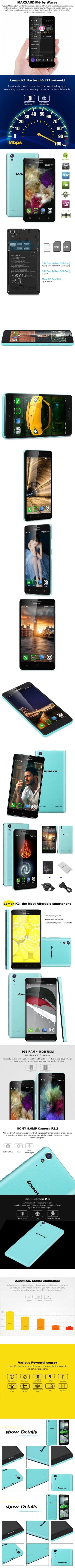 Lenovo LEMON K3 K30 W Android 4 4 5 0 inch Smartphone EU PLUG