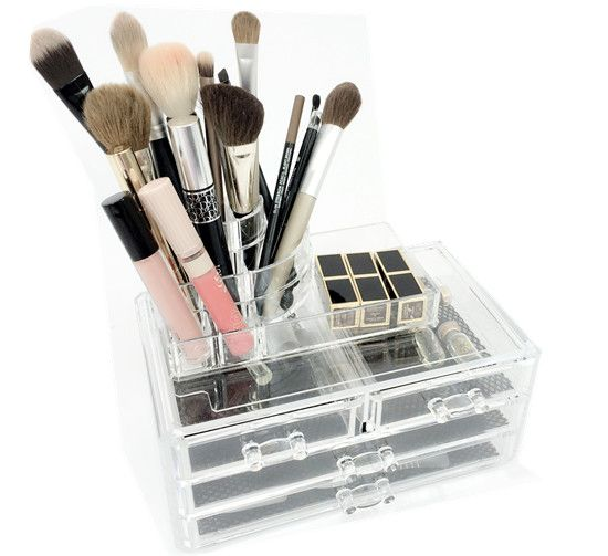 Clear Makeup Organizer Two Piece Set With Makeup Storage Containers