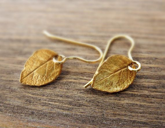 Tiny Gold Leaf Earrings / Mini Leaves in 24K Gold Vermeil and 24K Gold Vermeil. So Cool ‪Charms #‬earrings. ‪#Minimalist‬ #‪jewelry‬. Just because less is more. https://www.etsy.com/shop/SoCoolCharms
