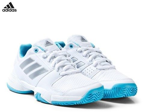 adidas White and Blue Barricade Tennis Trainers